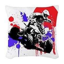 Red Splatter ATV Woven Throw Pillow