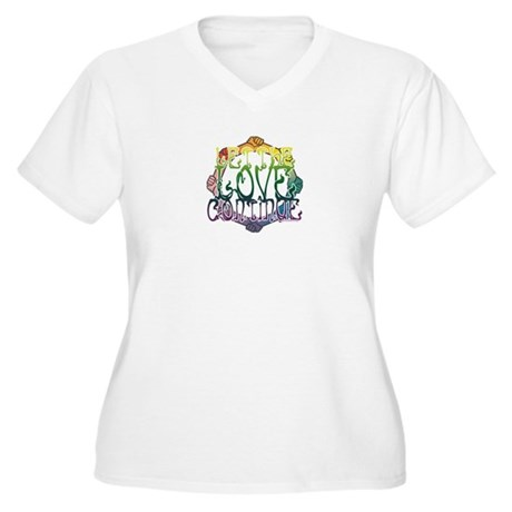 Let the Love Continue Women's Plus Size V-Neck T-S