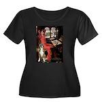 Lady & Boxer Women's Plus Size Scoop Neck Dark T-S