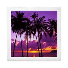 Purple Tropical Sunset 2 Queen Duvet