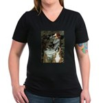 Ophelia & Boxer Women's V-Neck Dark T-Shirt