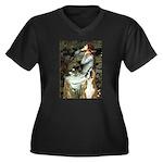 Ophelia & Boxer Women's Plus Size V-Neck Dark T-Sh