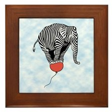 Flying Elephant Zebra Framed Tile