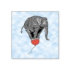 "Flying Elephant Zebra Square Sticker 3"" x 3"""