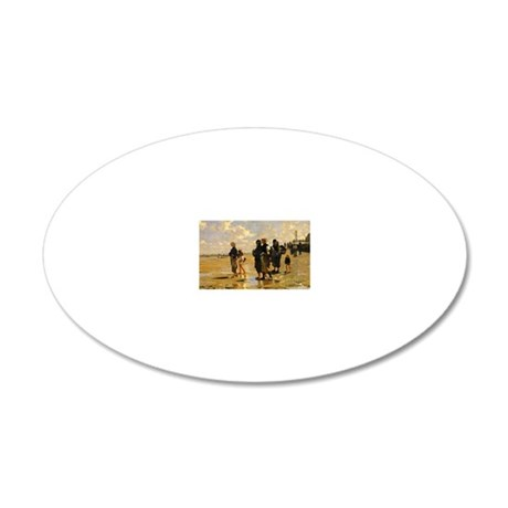 Sargent - Fishing for Oyster 20x12 Oval Wall Decal
