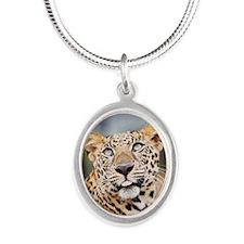 Armani Leopard Silver Oval Necklace