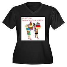 Funny Spree Women's Plus Size V-Neck Dark T-Shirt