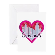 Cincinnati Skyline Sunburst Heart Greeting Cards