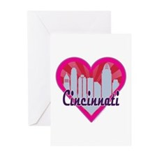 Cincinnati Skyline Sunburst Heart Greeting Cards