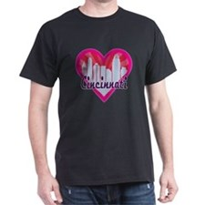 Cincinnati Skyline Sunburst Heart T-Shirt