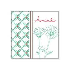 "Decorative Floral Pattern Square Sticker 3"" x 3"""