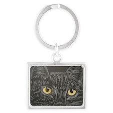 Black Cat Eyes Landscape Keychain