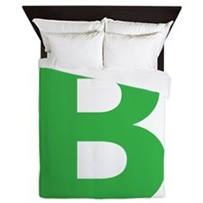 Letter B Green Queen Duvet