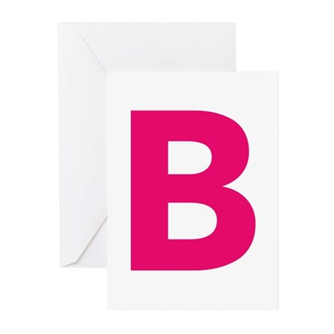 Letter B Pink Greeting Cards