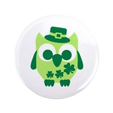 "Irish shamrock owl 3.5"" Button (100 pack)"
