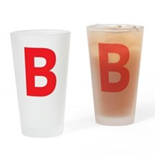 Letter B Red Drinking Glass