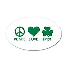 Peace love irish shamrock 20x12 Oval Wall Decal