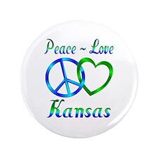 "Peace Love Kansas 3.5"" Button"