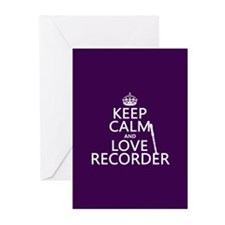 Keep Calm and Love Recorder Greeting Cards