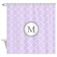Lavender Quatrefoil Monogram Shower Curtain