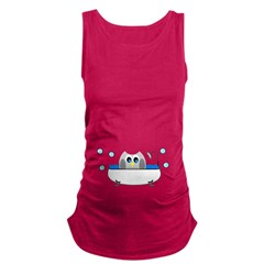 Owl In Tub Maternity Tank Top