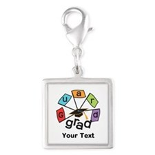 Customize Guard Grad Flags Silver Square Charm
