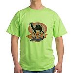 Colorful Camel Design Green T-Shirt
