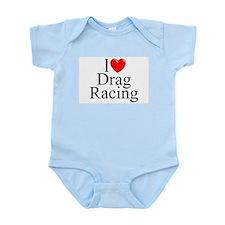 """""""I Love (Heart) Drag Racing"""" Infant Bodysuit"""