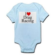 """I Love (Heart) Drag Racing"" Infant Bodysuit"