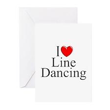 """I Love (Heart) Line Dancing"" Greeting Cards (Pk o"