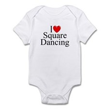 """I Love (Heart) Square Dancing"" Infant Bodysuit"