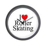 &quot;I Love (Heart) Roller Skating&quot; Wall Clock