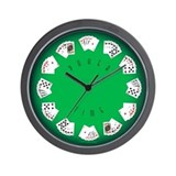 Poker Time felt green wall clock