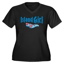 Island Gir 2 Women's Plus Size V-Neck Dark T-Shirt
