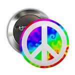 Rainbow Groovy Peace Sign Button