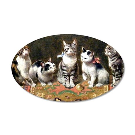 Cat Family, vintage painting 35x21 Oval Wall Decal