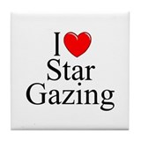 &quot;I Love (Heart) Star Gazing&quot; Tile Coaster