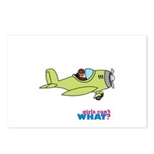 Girl Airplane Pilot Dark Postcards (Package of 8)