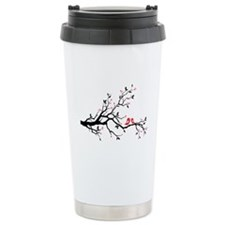 Kissing birds on tree Travel Mug