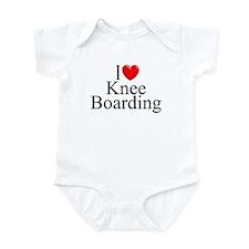 """""""I Love (Heart) Knee Boarding"""" Infant Bodysuit"""