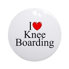"""I Love (Heart) Knee Boarding"" Ornament (Round)"