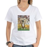 Spring with a Boxer Women's V-Neck T-Shirt