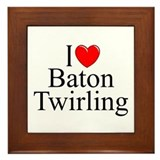 """I Love (Heart) Baton Twirling"" Framed Tile"