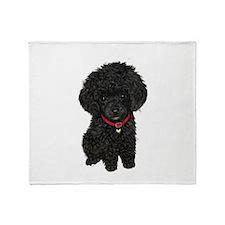 Poodle pup (blk) Throw Blanket
