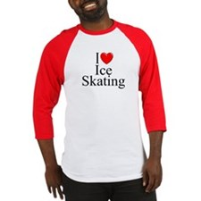 """I Love (Heart) Ice Skating"" Baseball Jersey"