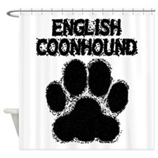 English Coonhound Distressed Paw Print Shower Curt