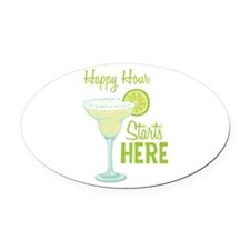 Happy Hour Starts HERE Oval Car Magnet