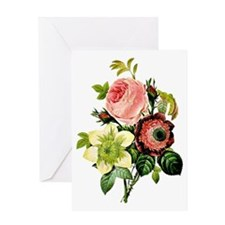 Rosa centifolia, anemone and clemati Greeting Card