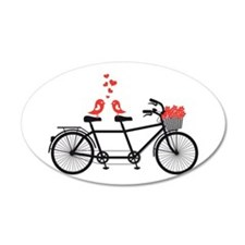 tandem bicycle with cute love birds Wall Decal