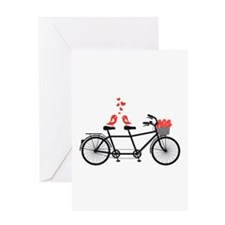 tandem bicycle with cute love birds Greeting Cards